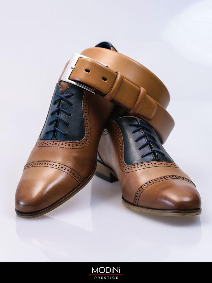 Brązowe skórzane buty męskie i pasek